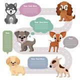 De grappige het huisdierenhonden van het beeldverhaalpuppy met toespraak borrelt vectorreeks vector illustratie