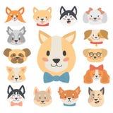 De grappige het karakterhoofden van de beeldverhaalhond paneren de vriendschappelijke aanbiddelijke honds vectorillustratie van h vector illustratie