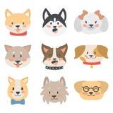 De grappige het karakterhoofden van de beeldverhaalhond paneren de vriendschappelijke aanbiddelijke honds vectorillustratie van h royalty-vrije illustratie