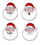 De grappige hoofden van de Kerstman Stock Afbeeldingen