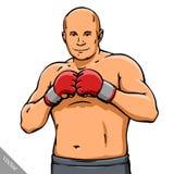 De grappige illustratie van de beeldverhaal koele MMA vechter stock illustratie