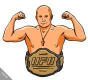 De grappige illustratie van de beeldverhaal koele MMA vechter vector illustratie