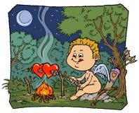 De grappige Illustratie van de Cupido - de Versie van de Kleur Stock Foto's
