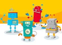 De grappige illustratie van het de groepsbeeldverhaal van robotkarakters stock illustratie