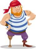 De grappige illustratie van het piraatbeeldverhaal Stock Afbeeldingen