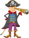 De grappige illustratie van het piraatbeeldverhaal Royalty-vrije Stock Foto's