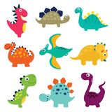 De grappige inzameling van beeldverhaaldinosaurussen vector illustratie