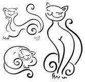 De grappige inzamelingen van de kattenschets. Royalty-vrije Stock Foto's