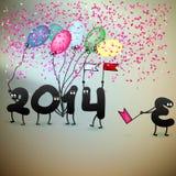 De grappige kaart van de de Oudejaarsavondgroet van 2014. + EPS10 Royalty-vrije Stock Afbeeldingen