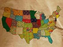 De grappige kaart van de V.S. op het oude document Stock Foto