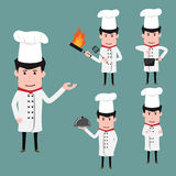 De grappige karakters van het chef-kokbeeldverhaal in divers stelt met mede cookware, Royalty-vrije Stock Foto's