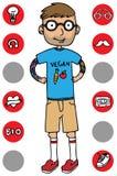 De grappige kerel van het beeldverhaal hipster karakter Vector Illustratie