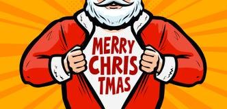De grappige Kerstman De Kerstman op een slee Vector illustratie vector illustratie