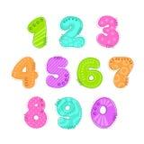 De grappige kleurrijke reeks van het aantallenflard Stock Fotografie