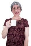 De grappige Lelijke Rijpe Hogere Vrouw drinkt Koffie stock fotografie