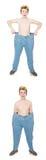 De grappige man met broeken Stock Foto