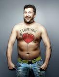 De grappige mens verklaring van liefde aan legt u af Stock Foto's