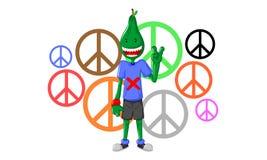 De grappige menselijke vrede van de karaktersliefde royalty-vrije illustratie