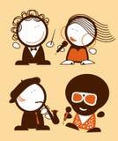 De grappige mensen van zangers. Royalty-vrije Stock Afbeeldingen