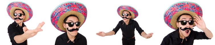 De grappige Mexicaan met sombrero in concept stock afbeelding