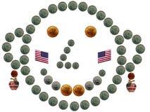 De grappige muntstuksmiley het vieren Dag van de Onafhankelijkheid Stock Fotografie