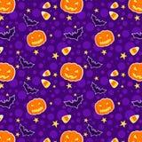 De grappige naadloze achtergrond van Halloween Stock Afbeeldingen