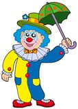 De grappige paraplu van de clownholding Stock Foto