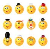 De grappige pictogrammen van het smileysberoep; geel; ronde verschillende emoties vector illustratie