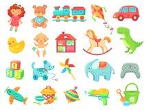 De grappige pluche draagt het stuk speelgoed van de meisjespop de objecten van het auto kleurrijke plastic speelgoed vectorinzame vector illustratie