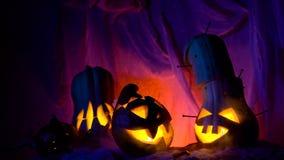 De grappige pompoen leidt het bedrijf tijdens de nacht Halloween sinistere samenstelling maar mooie vakantieattributen stock footage