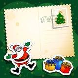 De grappige prentbriefkaar van Kerstmis Royalty-vrije Stock Foto