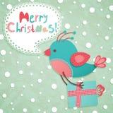 De grappige prentbriefkaar van Kerstmis Stock Afbeelding