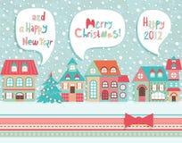 De grappige prentbriefkaar van Kerstmis. Royalty-vrije Stock Foto