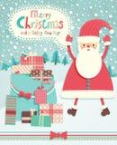 De grappige prentbriefkaar van Kerstmis Royalty-vrije Stock Afbeelding