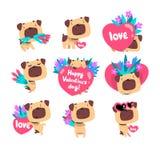De grappige Pug hond met bouquetds van bloemen en de harten plaatsen, leuke dierlijke het karakter vectorillustratie van Valentin royalty-vrije illustratie