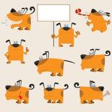 De grappige reeks van de beeldverhaal gele hond Stock Foto's