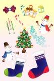 De grappige reeksen van het Kerstmispictogram - Creatieve illustratie eps10 Stock Fotografie