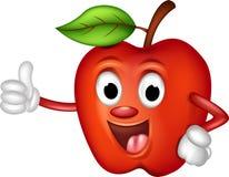 De grappige rode appel beduimelt omhoog Stock Foto's