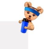 De grappige schudbeker van de hondholding met sportvoeding Stock Afbeeldingen