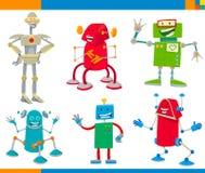 De Grappige Set van tekens van beeldverhaalrobots vector illustratie