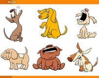 De grappige grappige set van tekens van het hondenbeeldverhaal stock illustratie