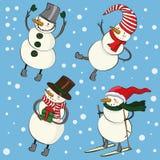 De grappige sneeuwmannen van beeldverhaalKerstmis Stock Fotografie