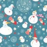 De grappige sneeuwmannen van de textuur Stock Afbeelding