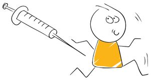 De grappige stickman geschotene patiënt van de illustratiegriep inenting Royalty-vrije Stock Afbeeldingen