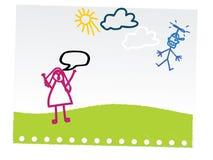De grappige tekening van de kindhand Stock Afbeeldingen