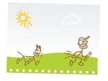 De grappige tekening van de kindhand Stock Foto's