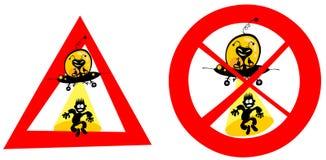 De grappige tekens van de UFOabductie. Stock Foto