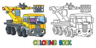De grappige telescopische auto van de boomlift Kleurend boek Vector Illustratie