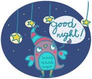 De grappige uil zegt goog nacht Royalty-vrije Stock Afbeelding