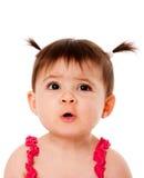 De grappige uitdrukking van het babygezicht Stock Foto